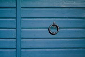 Wooden garage door blue in Karlskrona, Sweden